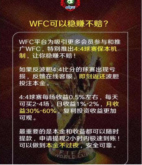 WFC足球反波胆是什么模式?WFC足球理财靠